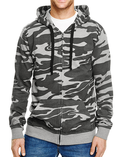 Full Zip Camo Hooded Fleece Jacket