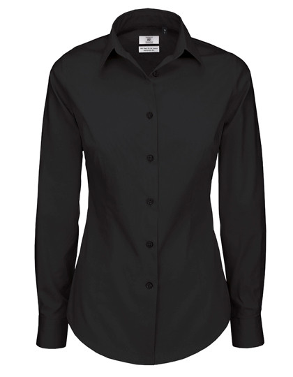 Poplin Shirt Black Tie Long Sleeve / Women